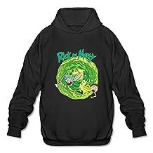 Men's Rick And Morty Funny Cartoon Fashion Long Sleeve Hoody XXL Black