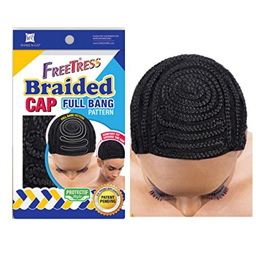 FreeTress Shake N Go Braided Cap Full Bang Pattern Crochet or Weave Hair Head Black by Freetress