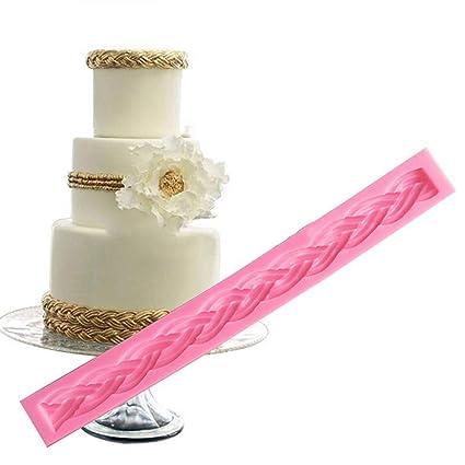 Yunnuopromi - Molde largo trenzado de silicona para fondant o tartas rosa