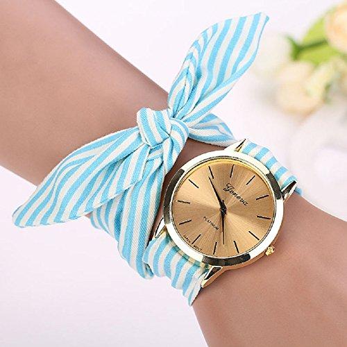 Analog Floral Dial (Malltop Elegant Women Floral Stripe Cloth Bracelet Mineral Glass Dial Window Quartz Analog Wrist Watch (Blue))