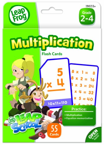 LeapFrog LeapSchool Multiplication Flash Cards for Grades 2-4, Pack of 55 (CYD83) ()