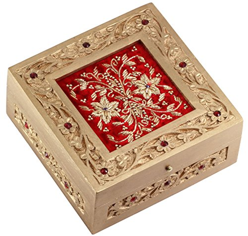 Now on Reduced Price 6 Inch Red Jewelry Box Zari Decorative Keepsake Handmade Wood Box Gift for Her