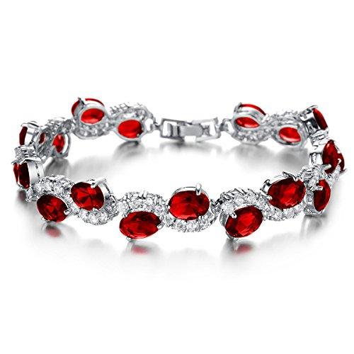 woman jewelry Shangshu Multicolor zircon white gold bracelet red crystal bracelet (Evil Bunny Costume)