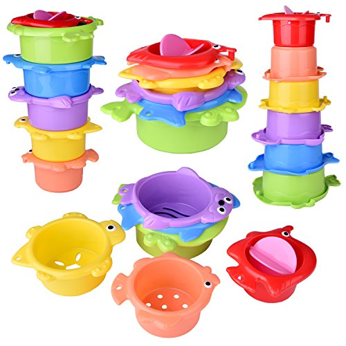 15 PCs Baby Bath Toys with Ocean Animals Bath Squirters Toys, Stacking Cups, Water Blaster Toys, Watering Can, Fishing Net and Bath Toy Organizer by FUN LITTLE TOYS (Image #1)