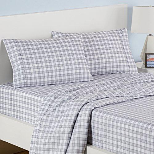 Waverly Kids 16482BEDDTWNLTG Norfolk Plaid Twin Sheet Set, Light Grey