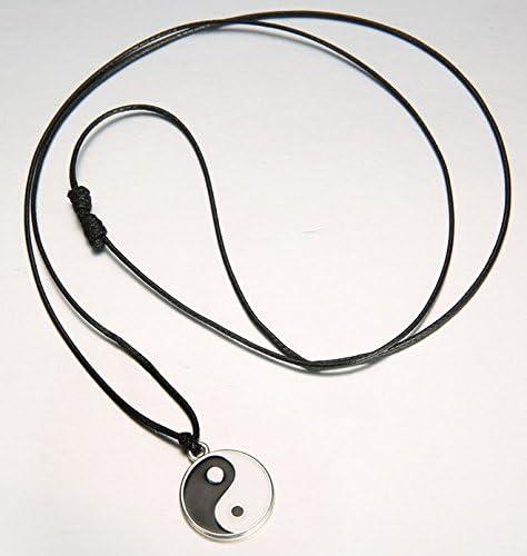Yin Ying Yang Pendant Black White Necklace Charm with Black Leather Cord FOL jj