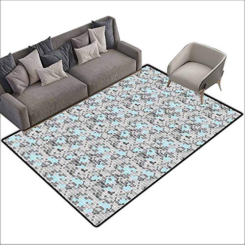 (Girl Bedroom Rug Geometric Video Games Stylized Modern Circular Maze Path Curves Rounds Display Easy to Clean W6'7 x L9'10 Pale Blue Charcoal Grey)