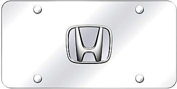 Honda Blue 3D Logo Brushed Stainless Steel License Plate