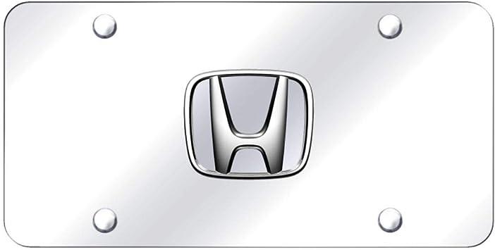 Black Honda Emblem Logo Front License Plate Frame Mirror Stainless Steel