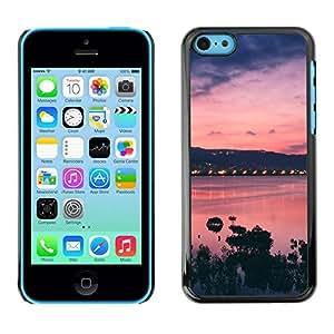 Caucho caso de Shell duro de la cubierta de accesorios de protección BY RAYDREAMMM - Apple iPhone 5C - Sunset Bay Nature Sea Ocean Purple
