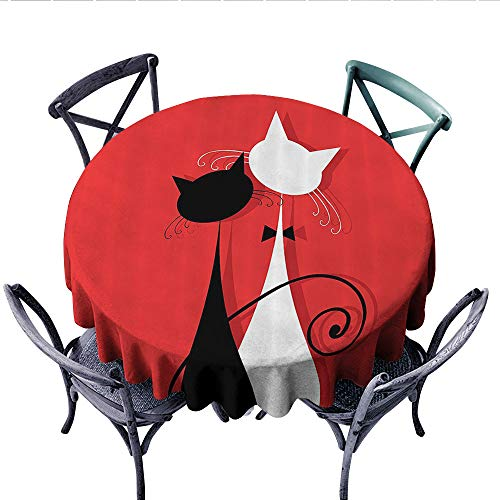 Red and Black Printed Circle Tablecloth March Spring Season Lover Cats in Wedding Gowns with Swirl Tails Image Stain Resistant Wrinkle Tablecloth (Round, 60 Inch, Scarlet and White)