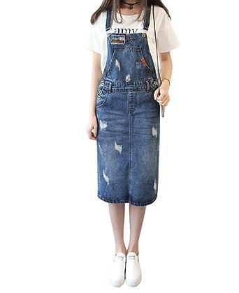 88521c1b37d Drasawee Juniors Denim Suspender Skirts Adjustable Mini Jeans Overalls Dress  Dark Blue Small