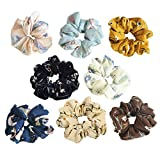 Teemico 8 Pack Colorful Bobbles Elastic Hair Bands Chiffon Floral Fabric Hair Ties, 8 Colors (Style 3)