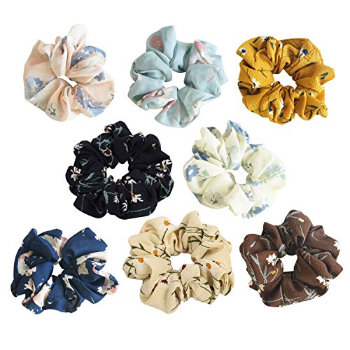 Teemico 8 Pack Colorful Bobbles Elastic Hair Bands Chiffon Floral Fabric Hair Ties, 8 Colors (Style 3) by Teemico