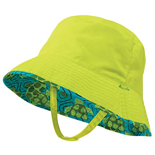 Lime Green Baby Boy Sun Hat, Reverses to Turtle, by Sun Smarties - Medium (Hats Ahead)