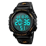 Mens Digital Sports Military Watches Big Numbers 50M Waterproof Outdoor Simple Design Army Wrist Watch for Boys LED Back Light Casual Watch for Men Rubber Black