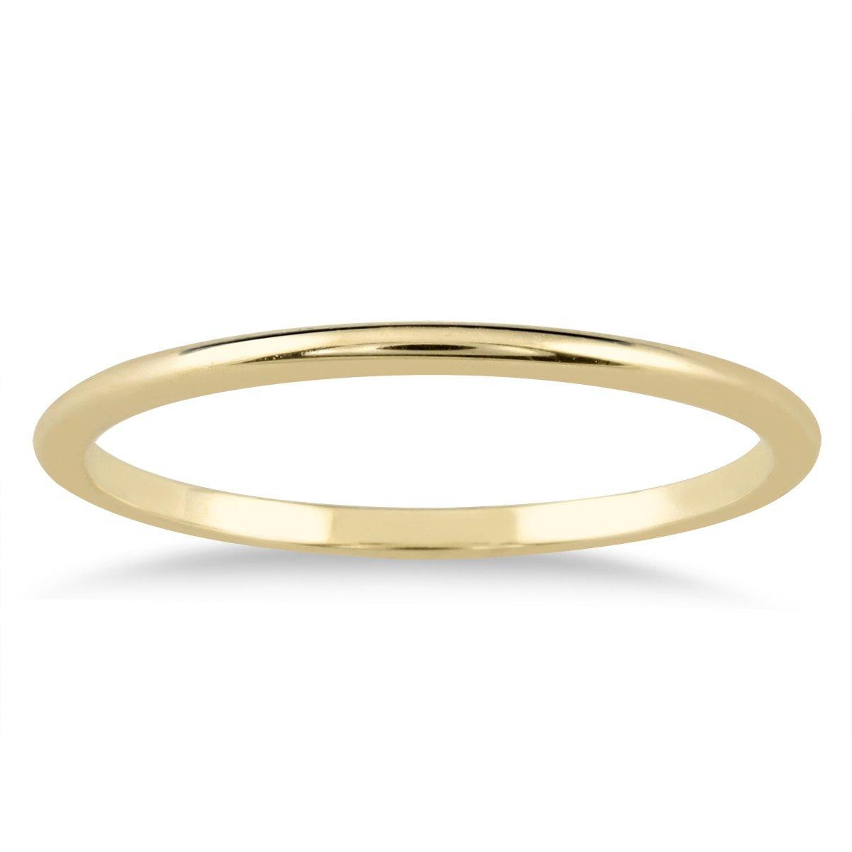 8873ef7a03cc11 Amazon.com: 1mm Thin Domed Wedding Band in 14K Yellow Gold: SZUL: Jewelry