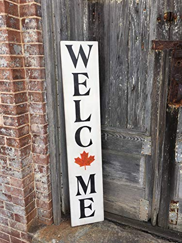 Iliogine Vintage Wood Sign Welcome Fall Decor Autumn Decor Thanksgiving Halloween Harvest Farmhouse Style Leaves Home Decor Wall Plaque Home Sign Gift]()