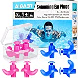 Swimming Ear Plugs, 2021 Pink Blue 4 Pairs AiBast Professional Waterproof Reusable Silicone Earplugs for Swimming Showering Bathing Surfing and Snorkeling with Boxes, Suitable for Kids and Adult