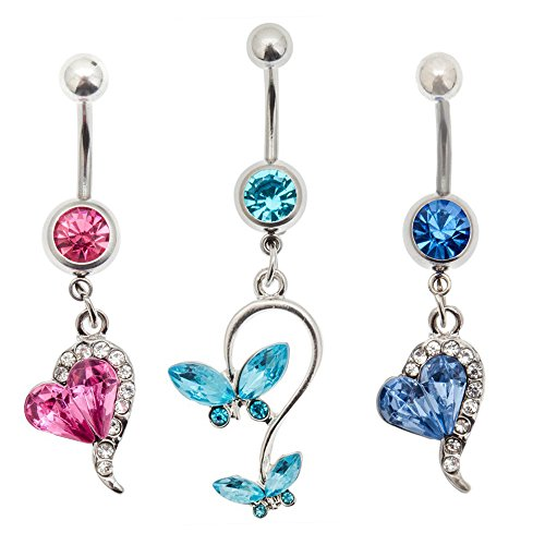 Set of 3 Silver Colored 316L Surgical Steel 14 Gauge Belly Rings Navels Buttons Piercings Bellybuttons Bananabells Barbells With Rhinestones Crystals And Different (Belly Button Ring Gauge)