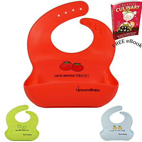 UpwardBaby Head Tomatoes | Food Safe Waterproof Silicone Bib - Wipes Clean Easy | Soft Baby Bib Material Comfortable Mess Free Meals | Stain And Heat - Rubber In Usa Meaning