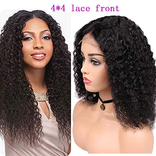 ALIMICE Lace Front Wigs Human Hair With Baby Hair Brazilian Jerry Curly 4x4 Glueless Lace Frontal Wigs Pre Plucked 130% Density For Black Women (10 inch, Natural Color)