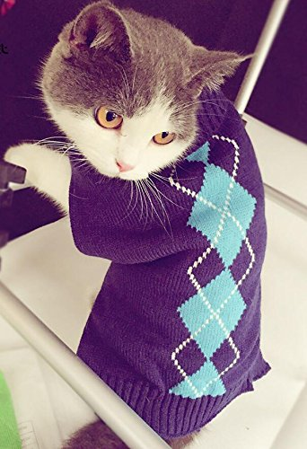 'Argyle Knit Pet Sweaters Clothes for Dogs Pets, Classic Blue Small (S) Size (In Pets Sweaters Cat)