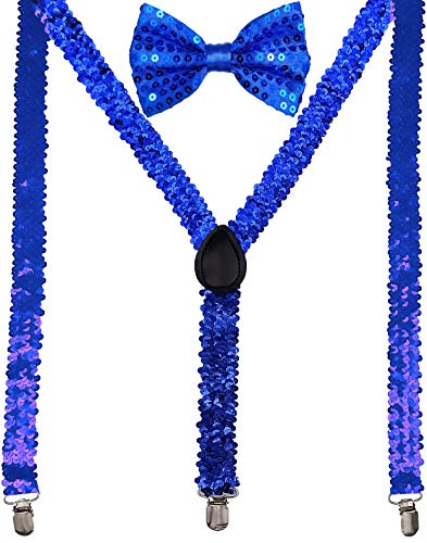 (Navisima Adjustable Elastic Y Back Style Suspender With Bowtie Set for Menand Women With Strong Metal Clips, Royal Blue Sequin)