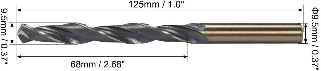 reduced stem helical drill bits 9.5 mm high speed 43 mm steel with 9.5 mm shank 1 piece