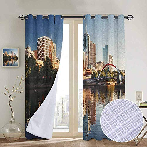 NUOMANAN Living Room Curtains City,Idyllic View of Yarra River Melbourne Australia Architecture Tourism, Dark Blue Ivory Dark Green,Adjustable Tie Up Shade Rod Pocket Curtain 120