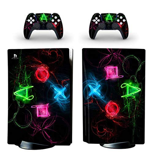 Dreamteam PS5 Skin Disc Edition Skin Sticker Decal Cover for PS5 PlayStation 5 Console and 2 Controllers PS5 Skin Sticker Vinyl