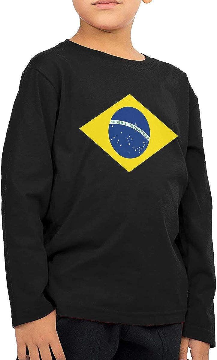 CERTONGCXTS Baby Boys Kids Brazil Flag Symbol ComfortSoft Long Sleeve Tee