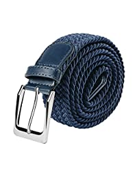 Braided Elastic Fabric Stretch Belt Leather End Silver Metal Buckle S-XXL (Large, Navy blue)