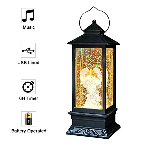 Eldnacele Musical Singing and Lighted Plug-in & Battery Operated Lighted Christmas Water Glittering Snowing Globe Christians Church Lantern for Home Decoration Angel -