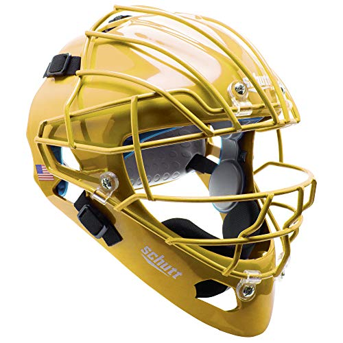 Schutt AiR MAXX Hockey-Style Catcher's Helmet with Facemask, Gold, Extended OS Cage Face Mask