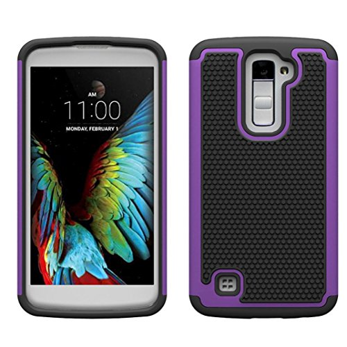For LG K10 Case , Ikevan® New Premium Rubber Hybrid Hard Silicone Shockproof Case Cover for LG K10 (Purple)