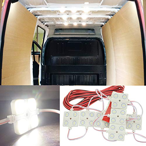 Ampper LED Ceiling Lights Kit for Van RV Boats Caravans Trailers Lorries Sprinter Ducato Transit VW LWB (10 Modules, White), 12V 40 LEDs Van Interior Light Kits