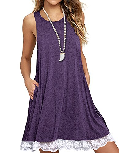 (Sanifer Women Summer Tunic Dress Lace Tank Dress Sleeveless T-Shirt Dress with Pockets (Small, Purple))