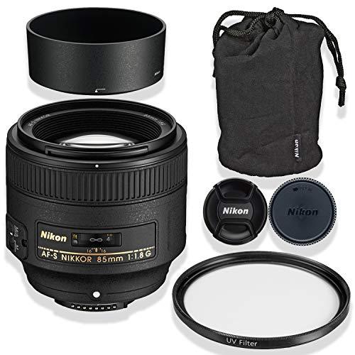 Nikon AF-S NIKKOR 85mm f/1.8G Lens Bundle with Nikon Lens Case & Nikon Lens Hood + High Def UV Filter