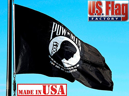 US Flag Factory 3'x5' POW-MIA Flag (Single Faced) Outdoor SolarMax Nylon - Made in America