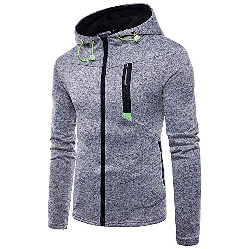 ZEFOTIM Men's Long Sleeve Zipper Hoodie Hooded Sweatshirt Top Tee Outwear -