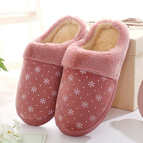 Inverno habuji cotone pantofole per uomini e donne più caldo antiscivolo metà interna pantofole con spessi inverno pantofole, 39-40, B-Crimson