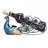 CdyBox Elegant Peacock Wrought Iron Wine Rack Single Bottle Tabletop Holder Creative Furnishing Articles Display
