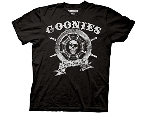 Adults Official Pirate Wheel Goonies T-shirt, Black - S to 3XL