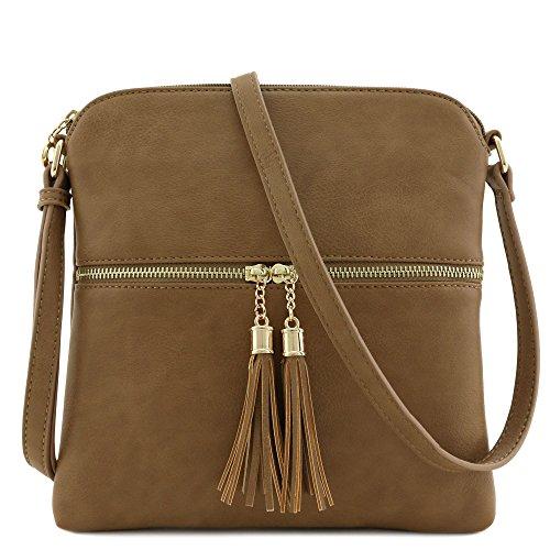 Tassel Zip Pocket Crossbody Bag Stone by FashionPuzzle