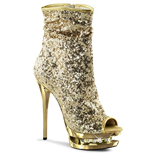 Womens Mid Calf Boots Gold Sequin Shoes Ankle Booties Open Toe 6 Inch Heels