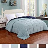Homelike Moment Lightweight Reversible Comforter Down Alternative Twin All Season Duvet Insert Microfiber Comforter Navy/Light Blue Twin/Twin XL Size with Corner Tabs Hypoallergenic