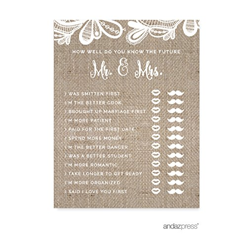 Andaz Press Burlap Lace Wedding Collection, How Well Do You Know the Future Mr. & Mrs. He Said She Said Game Cards, 20-Pack