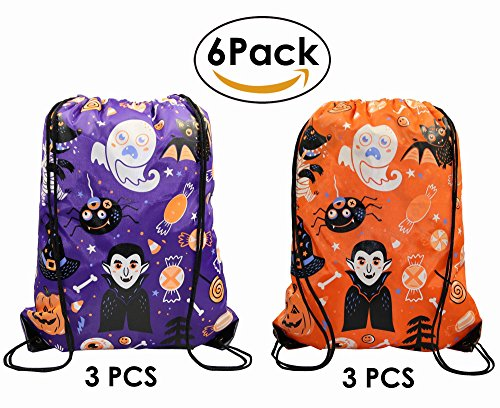 Halloween Gift Drawstring Bags for Trick or Treat 6 Pack, Cinch Backpack for Kids Teens Party Favors (Ideas For Halloween School Treats)