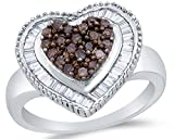 Size 6 - 925 Sterling Silver Chocolate Brown & White Round & Baguette Diamond Engagement Ring - Channel Set Heart Center Setting Shape (.78 cttw.)